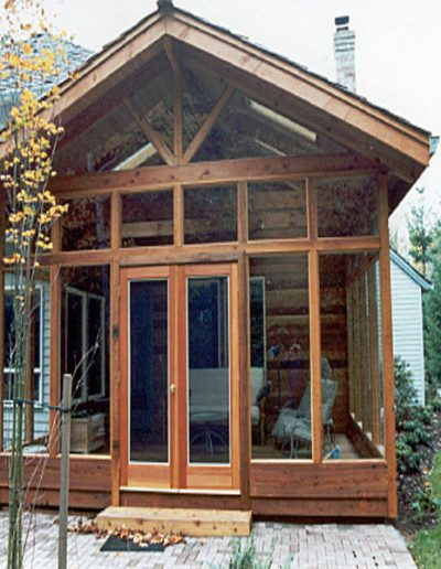 This was a cedar addition that we supplied screens for. The screens were held in by cedar stops.