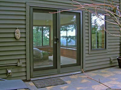 This is another French door in the statuary bronze color. They are full view doors with the reduced size kick panels to match the interior wood doors.